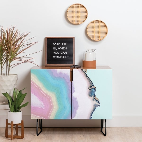 Deny Designs Rainbow Agate Credenza (Birch or Walnut, 2 Leg Options)