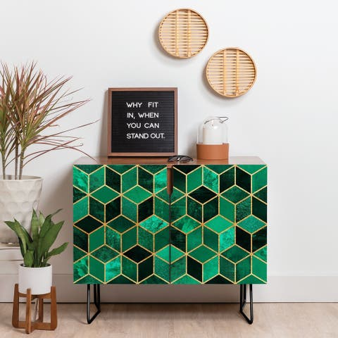Deny Designs Emerald Cubes Credenza (Birch or Walnut, 2 Leg Options)