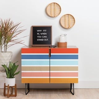Deny Designs Six Stripes Credenza (Birch or Walnut, 2 Leg Options)