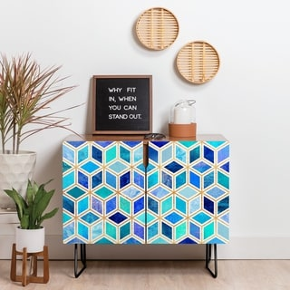 Deny Designs Magic Blue Credenza (Birch or Walnut, 2 Leg Options)