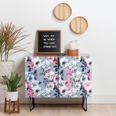 Deny Designs Vintage Floral Theme Credenza (Birch or Walnut, 2 Leg Options)