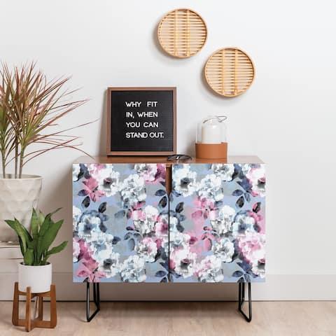 Deny Designs Vintage Floral Theme Credenza (Birch or Walnut, 2 Leg Options)