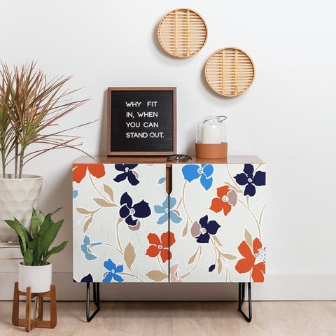 Deny Designs Delicate Floral Credenza (Birch or Walnut, 2 Leg Options)