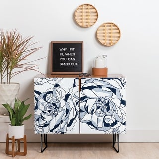 Deny Designs Line Floral Blue Credenza (Birch or Walnut, 2 Leg Options)