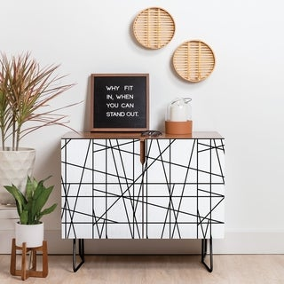 Deny Designs Architecture Lines Credenza (Birch or Walnut, 2 Leg Options)