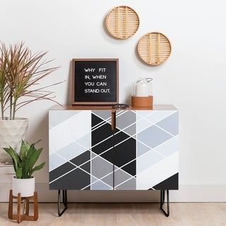 Deny Designs Nordic Slant Geometric Credenza (Birch or Walnut, 2 Leg Options)
