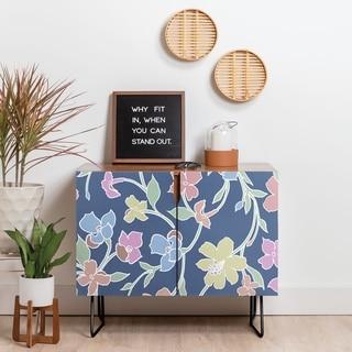 Deny Designs Floral Pastel Credenza (Birch or Walnut, 2 Leg Options)