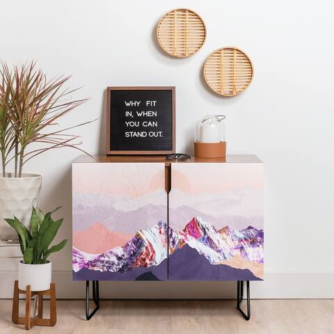 Deny Designs Peach Mountain Sunset Credenza (Birch or Walnut, 2 Leg Options)