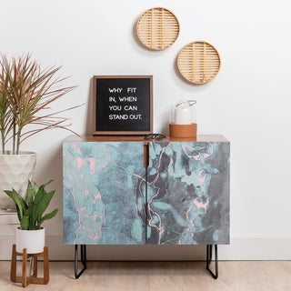 Deny Designs Light Blue and Blush Marble Credenza (Birch or Walnut, 2 Leg Options)