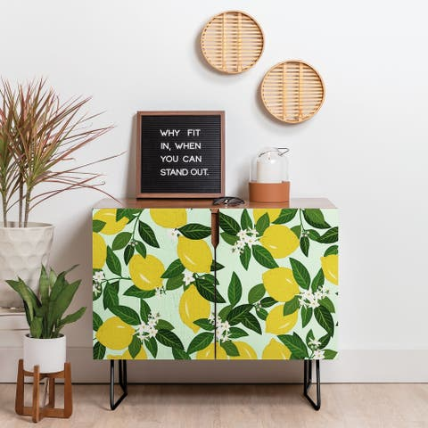 Deny Designs Lemons Credenza (Birch or Walnut, 2 Leg Options)