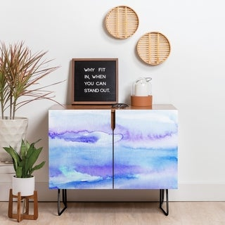 Deny Designs Blue Watercolor Credenza (Birch or Walnut, 2 Leg Options)
