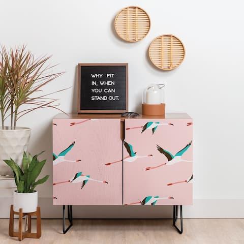 Deny Designs Flamingo Pink Credenza (Birch or Walnut, 2 Leg Options)