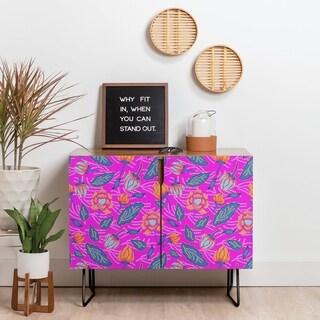 Deny Designs Summer Batik Fuchsia Credenza (Birch or Walnut, 2 Leg Options)