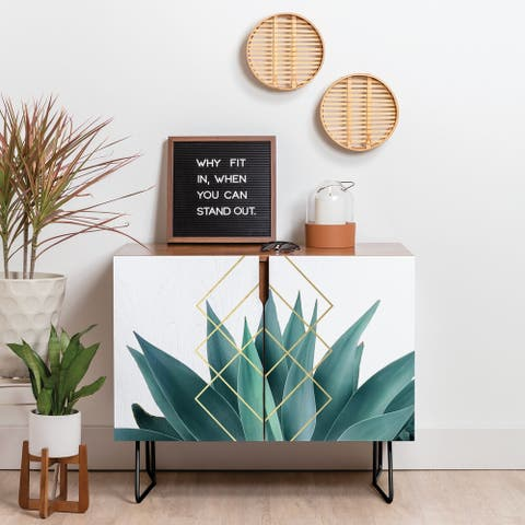 Deny Designs Agave Geometrics Credenza (Birch or Walnut, 2 Leg Options)