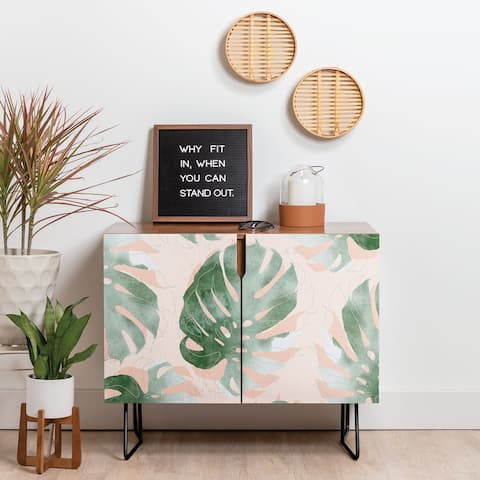 Deny Designs Bohemian Monstera Credenza (Birch or Walnut, 2 Leg Options)