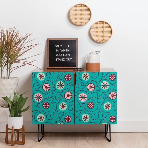 Deny Designs Turquoise Circle Credenza (Birch or Walnut, 2 Leg Options)