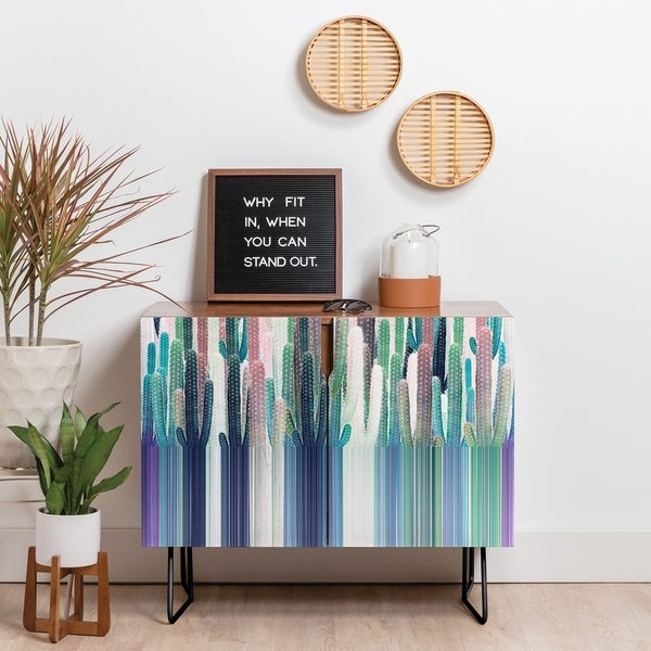 Deny Designs Cacti Stripe Pastel Credenza (Birch or Walnut, 2 Leg Options)