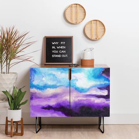 Deny Designs Blue and Purple Mist Credenza (Birch or Walnut, 2 Leg Options)