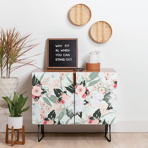 Deny Designs Floral Creme Credenza (Birch or Walnut, 2 Leg Options)