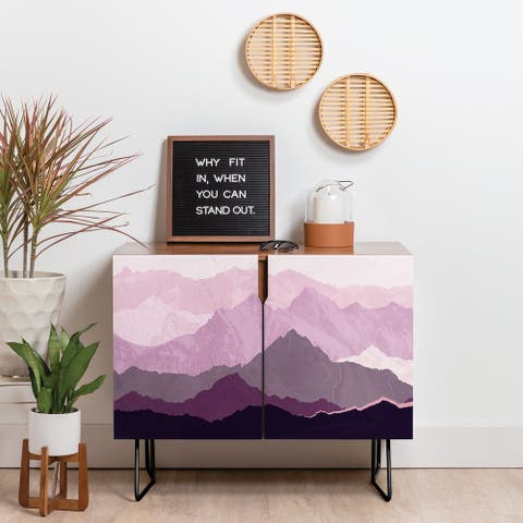 Deny Designs Plum Mountain Credenza (Birch or Walnut, 2 Leg Options)