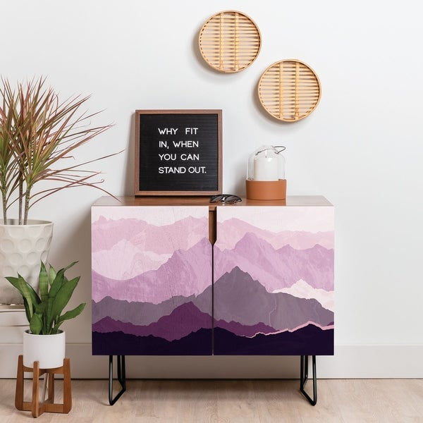 Deny Designs Plum Mountain Credenza (Birch or Walnut, 2 Leg Options). Opens flyout.