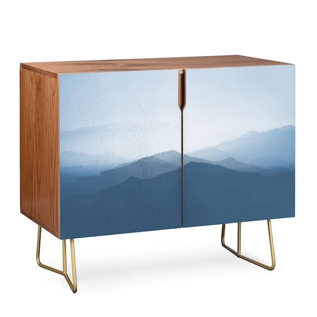 Deny Designs Hazy Morning Blues Credenza (Birch or Walnut, 2 Leg Options) - Gold Legs - Walnut Finish - Veneer/Wood