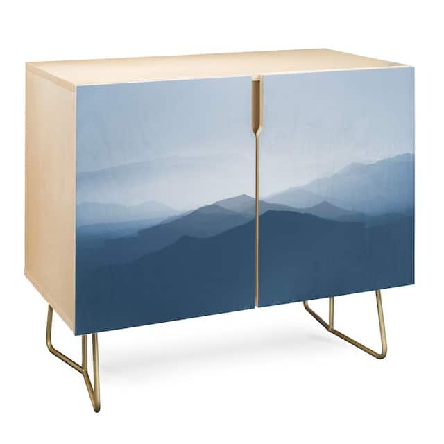 Deny Designs Hazy Morning Blues Credenza (Birch or Walnut, 2 Leg Options) - Gold Legs - Wood Finish - Wood/Birch