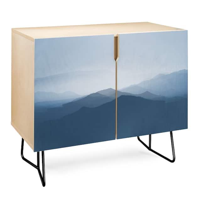 Deny Designs Hazy Morning Blues Credenza (Birch or Walnut, 2 Leg Options) - Black Legs - Wood Finish - Birch/Wood