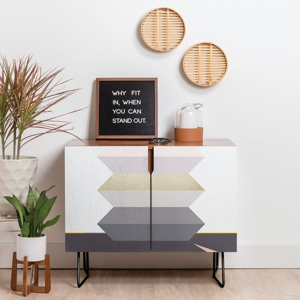 Deny Designs Block Geometric Credenza (Birch or Walnut, 2 Leg Options)