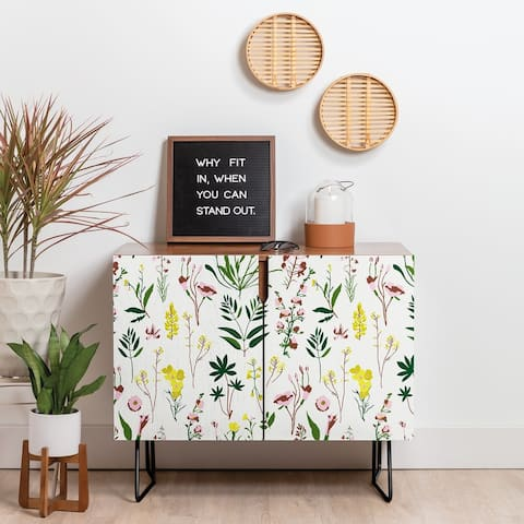 Deny Designs Wildflower Light Credenza (Birch or Walnut, 2 Leg Options)