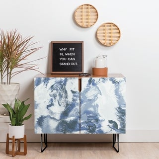 Deny Designs Marble Mist Blue Credenza (Birch or Walnut, 2 Leg Options)
