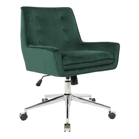 OSP Home Furnishings Quinn Office Chair with Faux Velvet