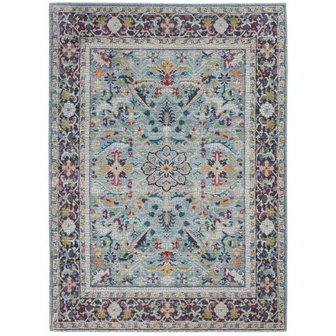 Nourison Global Vintage Teal/Multicolor Persian Area Rug