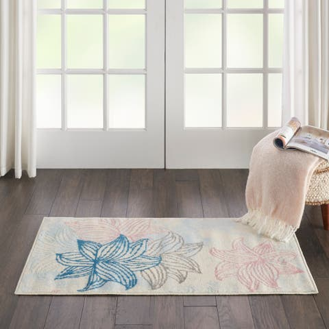 Nourison Jubilant Floral White/ Multicolor Area Rug - 2' x 4'