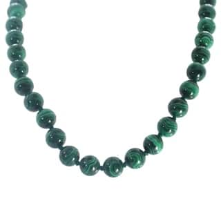 Michael Valitutti Palladium Silver Malachite Bead Necklace
