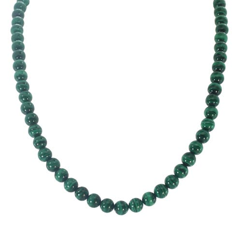 Gems en Vogue Palladium Silver Malachite Bead Necklace