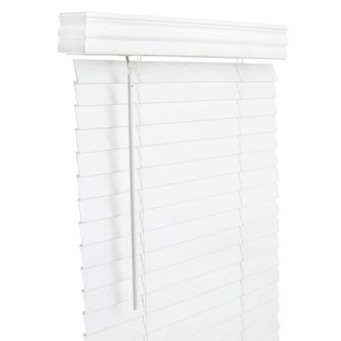 Living Accents Faux Wood 2 in. Mini-Blinds 39 in. W x 60 in. H White Cordless