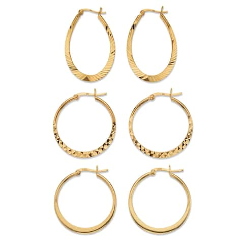 Yellow Gold over Sterling Silver Diamond Cut 3 Pair Hoop Earring Set