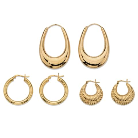 Gold Over Sterling Silver 3 Pair Hoop Earring Set