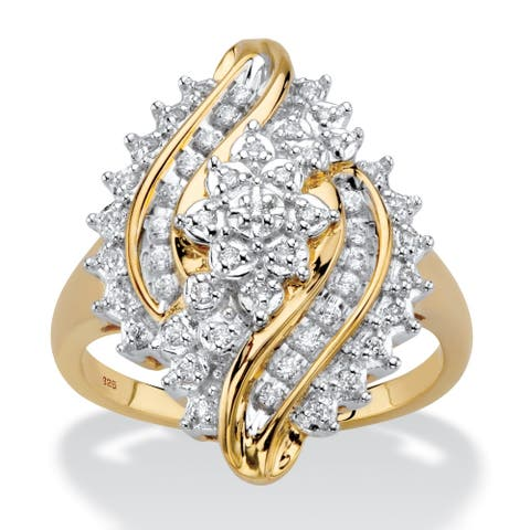 Yellow Gold over Sterling Silver Diamond Bypass Ring (1/3 cttw)
