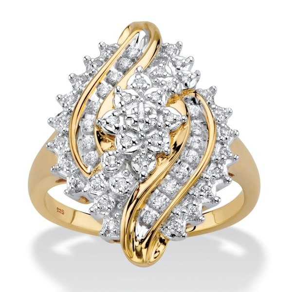 Yellow Gold over Sterling Silver Diamond Bypass Ring (1/3 cttw). Opens flyout.