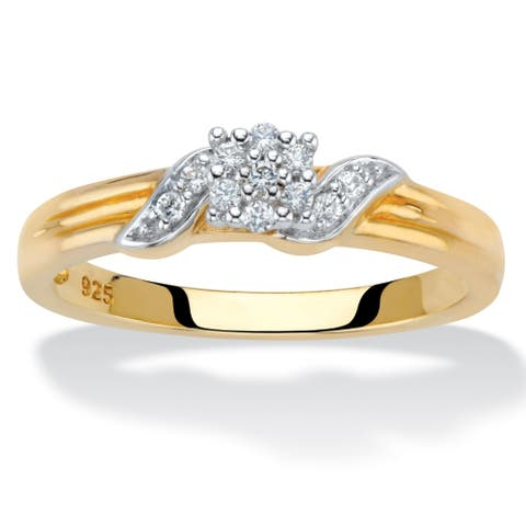 Yellow Gold over Sterling Silver Diamond Wedding Ring (1/10 cttw)