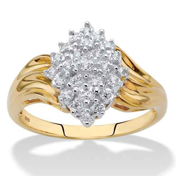 Yellow Gold over Sterling Silver Round Genuine Diamond Ring (1/8 cttw) (HI Color, I3 Clarity). Opens flyout.