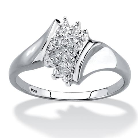 Platinum over Sterling Silver Genuine Diamond Accent Ring