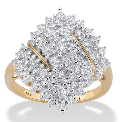 Yellow Gold over Sterling Silver Diamond Cluster Ring (1/4 cttw)