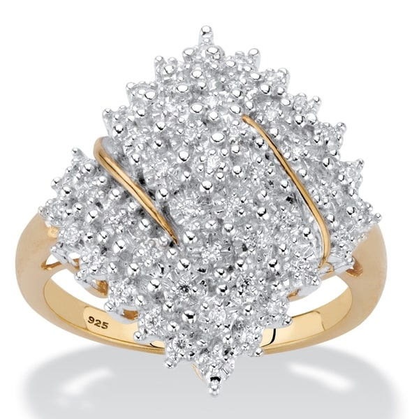 Yellow Gold over Sterling Silver Diamond Cluster Ring (1/4 cttw). Opens flyout.