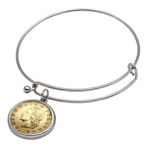 American Coin Treasures Italian Republic Coin Bangle Bracelet