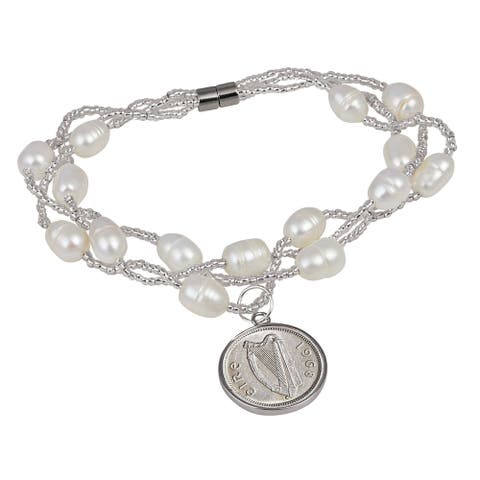 American Coin Treasures Irish Three Pence Pearl Coin Bracelet