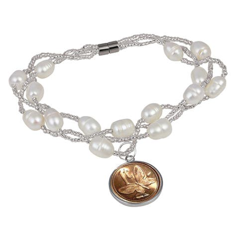 American Coin Treasures Butterfly Coin Pearl Bracelet