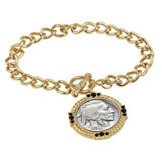 American Coin Treasures Buffalo Nickel Goldtone Coin Toggle Bracelet
